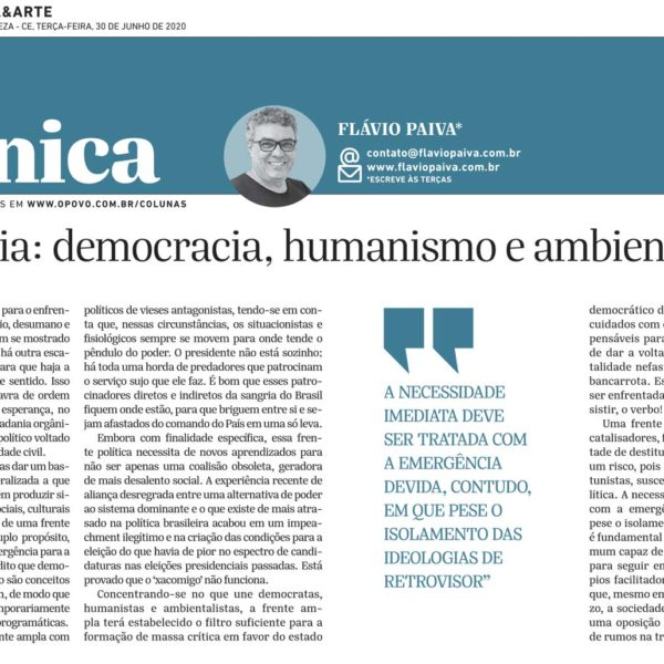 Insistência: democracia, humanismo e ambientalismo